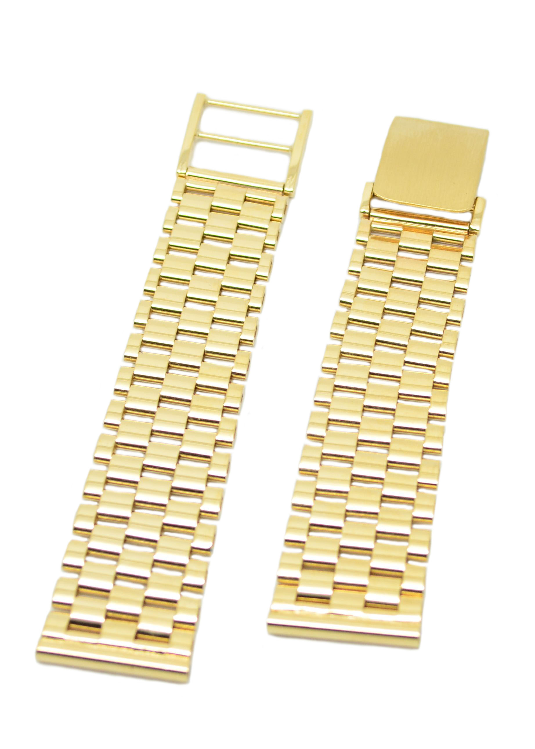 Gents 9ct Solid Gold Two Piece Watch Bracelet With Ladder Clasp Brick Link Pattern