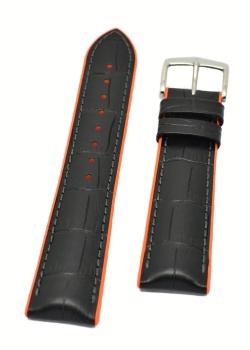 Hirsch 'Andy' Performance 22mm Black and Orange Strap - 0927628050-2-22
