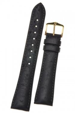 Hirsch 'Massai Ostritch' Black Leather Strap, 18mm - 04262050-1-18