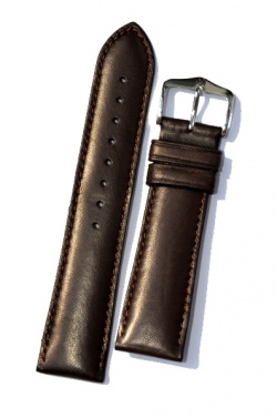 Hirsch 'Merino-Artisan' Dark brown Leather Strap, 18mm - 01206010-2-18