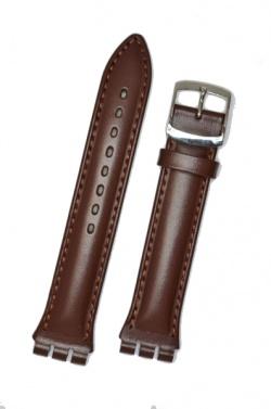 Hirsch Arizona, Watch Strap for Swatch Chronos in Brown, 19mm, Steel Buckle  - 64202010-2-23