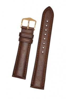 Hirsch 'Camelgrain' L 18mm Brown Leather Strap  - 01009015-1-18