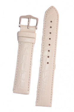 Hirsch 'Crocograin' Long White Leather Strap, 18mm - 12322800-2-18