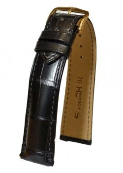 Hirsch 'Earl' 18mm Black Alligator Leather Strap  - 04707059-1-18
