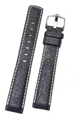 Hirsch 'Mariner' 20mm Black Leather Strap  - 14502150-2-20