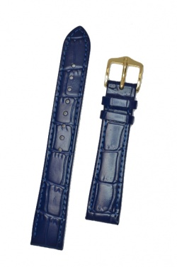 Hirsch 'LouisianaLook' Blue Leather Strap, 18mm - 03427080-2-18