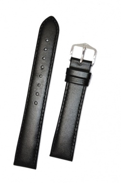 Hirsch 'Osiris' XL Black Leather Strap, 20mm - 03475250-2-20