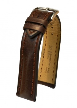 Hirsch 'Lucca' Brown Leather Strap, 20mm - 04902010-2-20
