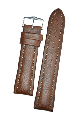 Hirsch 'Buffalo' L 22mm Brown Leather Strap  - 11320215-2-22