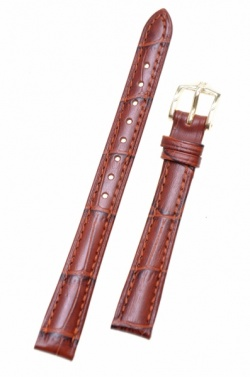 Hirsch 'Duke' Mid Brown Leather Strap, 12mm - 01208170-1-12