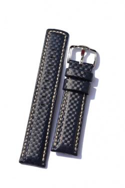 Hirsch 'Carbon' High Tech 22mm  Navy Blue Leather Strap  - 02592080-2-22