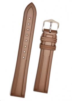 Hirsch 'Hevea' 18mm Premium Brown Rubber Strap  - 40458810-2-18