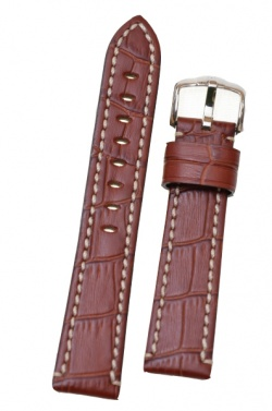 Hirsch 'Knight' 24mm Golden brown leather strap - 10902870-2-24