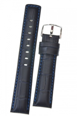 Hirsch 'Grand Duke' L 24mm Navy Blue Leather Strap  - 02528080-2-24
