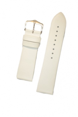 Hirsch 'Diamond calf'' White Leather Strap,M, 20mm - 14100200-2-20