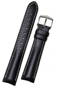Hirsch 'Heavy Calf' 18mm Black Leather Strap  - 01475050-2-18
