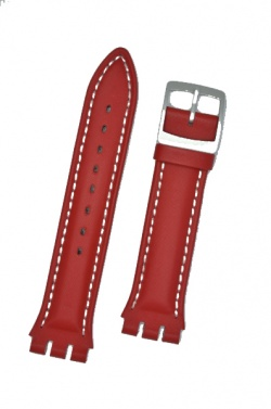 Hirsch Lionel, Watch Strap for Swatch Chronos in Red, 19mm Steel Buckle  - 64209020-2-23