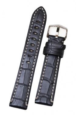 Hirsch 'Knight' 24mm Black Leather Strap  - 10902850-2-24