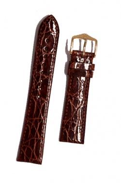 Hirsch 'Genuine Croco' M 15mm Golden Brown Leather Strap  - 18900870-1-15