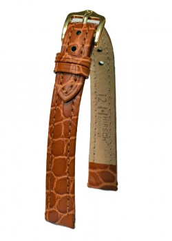 Hirsch 'Aristocrat' 14mm Golden Brown ,M,  Leather Strap  - 03828170-1-14