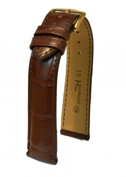 Hirsch 'Earl' 19mm Brown Alligator Leather Strap  - 04707019-1-19