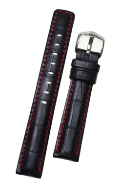 Hirsch 'Grand Duke' High Tech 18mm Black Leather Strap  - 02528050-2-18