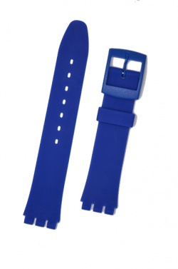Hirsch Tim, Watch Strap for Swatch in Royal Blue, 17mm, Plastic Buckle  - 63049580-9-20