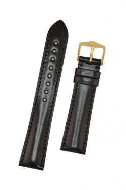 Hirsch 'Siena' M Black, 18mm  Tuscan Leather Strap  - 04202150-1-18
