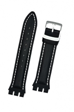 Hirsch Lionel, Watch Strap for Swatch Chronos in Black, 19mm, Steel Buckle  - 64209050-2-23
