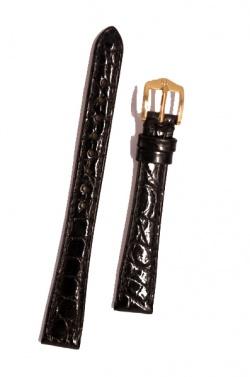 Hirsch 'Genuine Croco' M 13mm Black Leather Strap  - 18900850-1-13