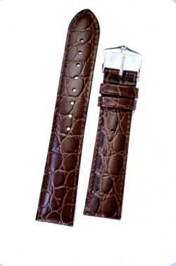 Hirsch 'Crocograin' Brown Leather Strap, 20mm - 12302810-1-20