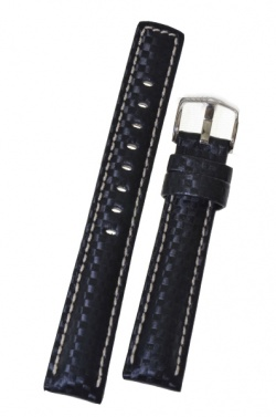 Hirsch 'Carbon' High Tech 22mm Black Leather Strap  - 02592050-2-22