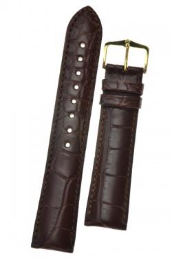 Hirsch 'Genuine Alligator' M 16mm  Brown Leather Strap  - 10200719-1-16
