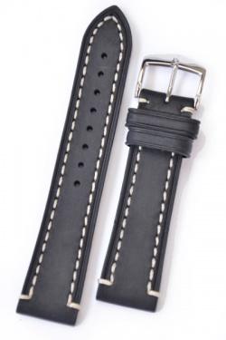 Hirsch 'Liberty' 24mm Black Leather Strap  - 10900250-2-24