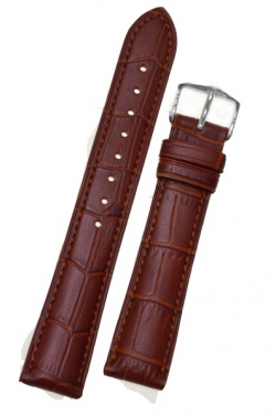 Hirsch 'Duke' Mid Brown Leather Strap, 16mm - 01208170-1-16
