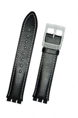 Hirsch Mel, Watch Strap for Swatch Gents in Black, 16mm, Plastic Buckle  - 64007950-9-20