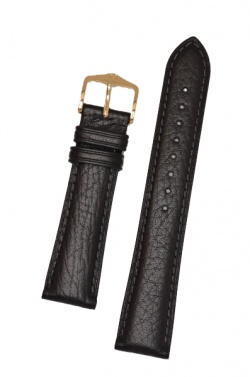 Hirsch 'Camelgrain' open ended 17mm Black Leather Strap  - 10200950OE-1-17