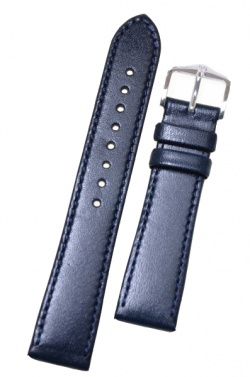 Hirsch 'Osiris' Navy blue, leather watch strap 18mm - 03475180-2-18