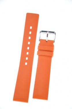 Hirsch 'Pure' 22mm Orange Rubber Strap  - 40538876-2-22
