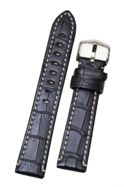 Hirsch 'Knight' 26mm Black Leather Strap  - 10902850-2-26