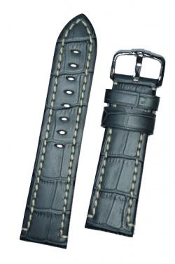 Hirsch 'Knight' 24mm Grey Leather Strap  - 10902830-2-24