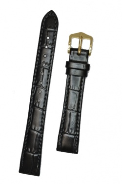 Hirsch 'LouisianaLook' M Black Leather Strap, 14mm - 03427150-1-14