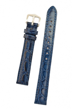 Hirsch 'Crocograin' Blue Leather Strap,M, 12mm - 12302880-2-12