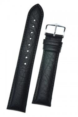 Hirsch 'Highland' Black, Leather Watch Strap 20mm - 04302050-2-20