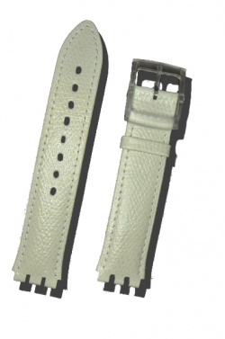 Hirsch Mel, Watch Strap for Swatch Gents in White, 16mm, Plastic Buckle  - 64007900-9-20