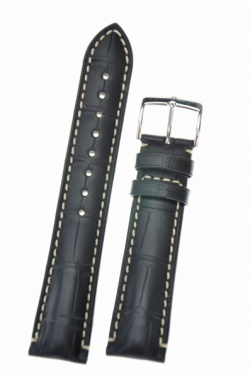 Hirsch 'Viscount' Black Leather Strap, 20mm - 10270759-2-20