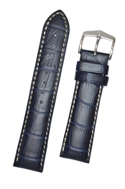 Hirsch 'Modena' Blue Leather Strap, 19mm - 10302880-2-19