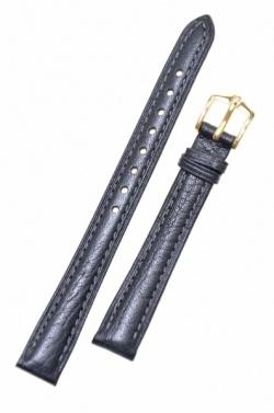 Hirsch 'Camel Grain' Black Leather Strap, 16mm - 01009150-1-16