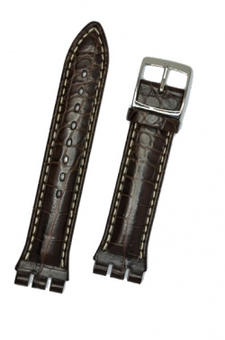 Hirsch Louisiana, Watch Strap for Swatch Chronos in Brown, 19mm, Steel Buckle  - 64200719-2-23