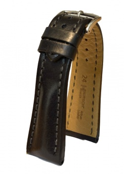 Hirsch 'Lucca' Black Leather Strap, 24mm - 04902050-2-24